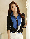 cheap Women's Dresses-Women's Beach Work Shirt - Color Block Mixed Color Shirt Collar