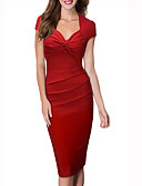 cheap Women's Dresses-Women's Club Work Cotton Bodycon Sheath Dress - Solid Colored Red, Ruched V Neck