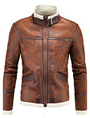 cheap Men's Jackets & Coats-Men's Street chic Plus Size Cotton Slim Leather Jacket - Solid Colored, Oversized Stand / Long Sleeve