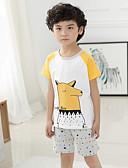 hesapli Erkek Çocuk Kıyafetleri-Unisex Günlük Pamuklu Hayvan Desenli Yaz Kıyafet Seti Beyaz