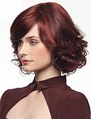 hesapli Elbise Saat-Sentetik Peruklar Dalgalı Kırmızı Kırmızı Sentetik Saç Kadın's Afrp Amerikan Peruk Kırmızı Peruk Orta Bonesiz