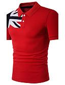 baratos Camisas Masculinas-Homens Polo Estampado Algodão Colarinho de Camisa