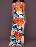 baratos Vestidos Longos-Mulheres Feriado / Para Noite Delgado Bainha Vestido Floral Longo