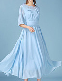 cheap Bridesmaid Dresses-Women's Going out Chiffon Dress - Solid Colored Blue Maxi