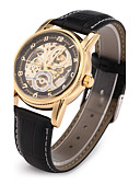 abordables Relojes de Vestir-Hombre Reloj de Pulsera El reloj mecánico Japonés Cuerda Automática Huecograbado PU Banda Analógico Lujo Negro - Negro