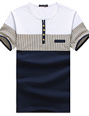 cheap Men's Tees & Tank Tops-Men's Plus Size Cotton T-shirt - Striped Patchwork Round Neck