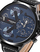 cheap Sport Watches-Men's Sport Watch Military Watch Wrist Watch Quartz Calendar / date / day Creative Dual Time Zones Genuine Leather Band Analog Vintage Casual Bangle Black - Blue One Year Battery Life / Large Dial