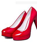 preiswerte Damen Socken & Strumpfwaren-Damen PU Herbst / Winter Springerstiefel / Club-Schuhe High Heels Walking Stöckelabsatz Runde Zehe Kombination Schwarz / Beige / Rot / 3-4