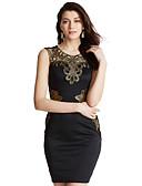 cheap Women's Dresses-Women's Club Bodycon Dress - Solid Colored Black, Lace Cut Out Jacquard