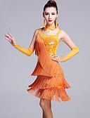 cheap Latin Dancewear-Latin Dance Dresses Women's Performance Viscose Sequin / Tassel / Crystals / Rhinestones Sleeveless Natural Dress / Gloves / Shorts