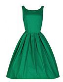 cheap Vintage Dresses-Women's Plus Size Party Going out Vintage A Line Dress - Solid Colored Summer Red Green Blue XL XXL XXXL