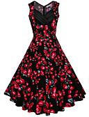 abordables Vestidos de Talla Grande-Mujer Tallas Grandes Vintage Corte Swing Vestido Floral Midi Escote en Pico