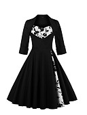 cheap Women's Dresses-Women's Going out Vintage / Sophisticated Butterfly Sleeves Cotton A Line / Swing Dress - Floral Black, Print Square Neck