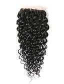 preiswerte Krawatten & Fliegen-Brasilianisches Haar 4x4 Closure Locken / Klassisch / Kinky Curly Kostenlose Part / Mittelteil / 3 Teil Schweizer Spitze Echthaar Alltag