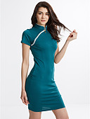 cheap Women's Dresses-Women's Work Street chic Cotton Bodycon Dress - Solid Colored Stand / Summer