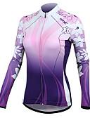 preiswerte Bauchtanzkleidung-SANTIC Damen Langarm Fahrradtrikot - Purpur Blume Fahhrad Jacke, warm halten, Frühling, Polyester / Rasche Trocknung / Dehnbar / Rasche Trocknung / UV-resistant / Trikot / Radtrikot