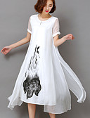cheap Women's Dresses-Women's Plus Size Going out Vintage / Sophisticated Swing Dress - Floral White, Print High Rise