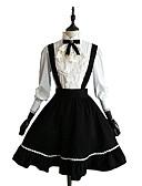 cheap Steel Band Watches-Classic Lolita Dress Women's Girls' Skirt Blouse / Shirt Cosplay Black Long Sleeve Knee Length Halloween Costumes