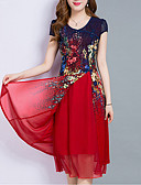 cheap Women's Two Piece Sets-Women's Plus Size Going out Chiffon Dress - Floral Layered / Print Summer Red Royal Blue XXXL 4XL XXXXXL