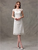 cheap Wedding Dresses-A-Line Jewel Neck Knee Length Floral Lace Made-To-Measure Wedding Dresses with Draping / Lace by LAN TING BRIDE® / Illusion Sleeve / Little White Dress