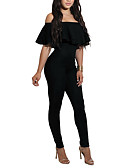 cheap Women's Jumpsuits & Rompers-Women's Club Holiday Street chic Jumpsuit - Solid Colored, Backless Ruffle High Rise Boat Neck