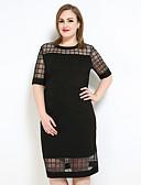 baratos Tops Femininos-Mulheres Tamanhos Grandes Reto / Camiseta Vestido - Com Transparência, Quadriculada Médio