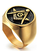 cheap Steel Band Watches-Men's Geometric Statement Ring Ring - Titanium Steel Personalized, Punk, Rock 8 / 9 / 10 / 11 / 12 Gold For Christmas Gifts Party Special Occasion