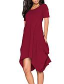 tanie Sukienki-Damskie Wyjściowe Moda miejska Luźna Sukienka - Solidne kolory Asymetryczna