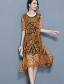 baratos Vestidos de Mulher-Mulheres Tamanhos Grandes Para Noite Solto Vestido - Com Transparência Estampado Assimétrico