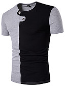 baratos Suéteres & Cardigans Masculinos-Homens Camiseta - Esportes Estilo Moderno, Estampa Colorida Algodão Decote Redondo Delgado