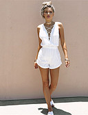 cheap Women's Jumpsuits & Rompers-Women's Beach Going out Holiday Street chic Romper - Solid Colored Deep V