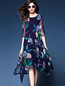 baratos Vestidos de Mulher-Mulheres Tamanhos Grandes Para Noite Solto Chifon Vestido - Estampado, Floral Assimétrico / Verão