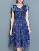 رخيصةأون فساتين للنساء-ميدي رقبة V طباعة فستان A خط قياس كبير معقد ذهاب للخارج للمرأة / صيف