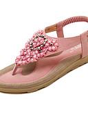 abordables Camisas de Hombre-Mujer Zapatos Microfibra Primavera / Verano Confort / Suelas con luz Sandalias Paseo Tacón Plano Dedo redondo Pedrería / Apliques / Flor Negro / Rosa / Almendra