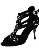 baratos Blusas Femininas-Mulheres Sapatos de Dança Latina Flocagem Sandália / Salto Pedrarias / Presilha Salto Agulha Personalizável Sapatos de Dança Preto