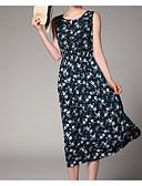 preiswerte Damen Kleider-Damen Strand Ausgehen Baumwolle A-Linie Lose Hülle Kleid - Druck, Solide Blumen Midi V-Ausschnitt Hohe Hüfthöhe