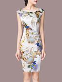 お買い得  レディースドレス-女性用 プラスサイズ お出かけ シース ドレス - プリント 膝上