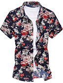 cheap Men's Shirts-Men's Cotton / Rayon Shirt - Floral Flower Classic Collar / Short Sleeve