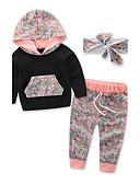 cheap Girls' Clothing Sets-Toddler Unisex Floral / Dresswear Floral / Sports / Fashion Long Sleeve Regular Regular Cotton Clothing Set Black