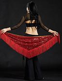 hesapli Dans Aksesuarları-Göbek Dansı Göbek Dansı Hip Şalları Kadın's Performans Polyester Payet Püsküllü Göbek Dansı Kalça Atkısı