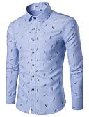 baratos Camisas Masculinas-Homens Camisa Social Estampado, Geométrica Colarinho Clássico Delgado