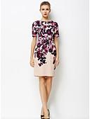 baratos Vestidos de Mulher-Mulheres Tamanhos Grandes Trabalho Sofisticado Reto Vestido Floral Altura dos Joelhos