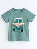 preiswerte Mode für Mädchen-Jungen T-Shirt Geometrisch Baumwolle Kurzarm Grün