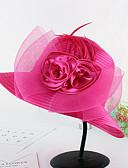 baratos Headpieces Femininos-Mulheres Chapéu Flor Pelicula de Plástico Tecido Primavera/Outono Verão Coco De Palha,Retalhos Floral Marron Preto Cinzento Fúcsia Azul