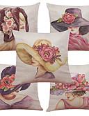 baratos Relógio Elegante-5 pçs Linho Natural/Orgânico Fronha Cobertura de Almofada, Estampado Textura Estilo Praia Europei Apoiar Tradicional/Clássico Retro