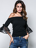 cheap Women's T-shirts-Women's Going out Street chic T-shirt - Solid Colored Bow Off Shoulder / Spring / Summer / Sexy