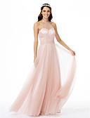 preiswerte Abendkleider-A-Linie Schmuck Boden-Länge Tüll Brautjungfernkleid mit Schärpe / Band Plissee durch LAN TING BRIDE®