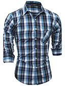 cheap Men's Shirts-Men's Chinoiserie Cotton Shirt - Check Classic Collar