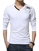 billige Belter til herrer-Bomull Tynn V-hals Store størrelser T-skjorte Herre - Bokstaver, Trykt mønster / Langermet