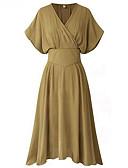 رخيصةأون فساتين قياس كبير-فستان نسائي قياس كبير ثوب ضيق طول الركبة لون سادة V رقبة